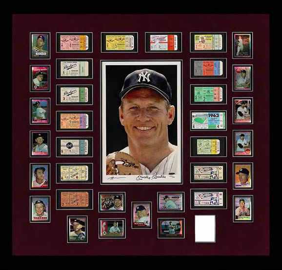"MICKEY MANTLE IS THE RECORD HOLDER FOR MOST HOME RUNS IN WORLD SERIES PLAY-18. THIS ELABORATE DISPLAY INCLUDES A COMPLETE COLLECTION OF ORIGIANL TICKET STUBS FROM THE 16 WORLD SERIES GAMES IN WHICH MANTLE HIT AT LEAST ONE HOME RUN(IN TWO GAMES HE HIT TWO). THE TICKETS IN THIS RUN INCLUDE FIVE SCARCE STUBS FROM EBBETS FIELD AS WELL AS THE COVETED STUB FROM DON lARSENS'S PERFECT GAME IN 1956. OTHER COMPONENTS OF THIS CREATIVE DISPLAY INCLUDE A LARGE LIMITED EDITION SIGNED PHOTOGRAPH OF ""THE MICK"" AS THE CENTERPIECE. ADDITIONALLY, THE DISPLAY IS ENHANCED BY INDIVIDUAL PLACARDS DETAILING EACH HOME RUN UNDER EVERY TICKET-THIS PICTURE MEASURES 53 X 41 INCHES"