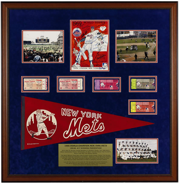 This amazing sports display celebrates the MIRACLE METS of 1969 and their World Series victory. The New York Mets rose from the depths of mediocrity to the top of the baseball world in their eight year of existence-in fact the 1969 team recorded the Mets first winning record. This conversation piece contains a Mets team signed original 1969 world series program(29 signatures), ticket stubs from all five world series games, vintage felt pennant and photographs. This display measures 39 x 40 inches